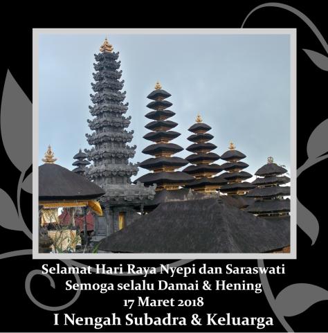 Ucapan Nyepi dan Saraswati 2018